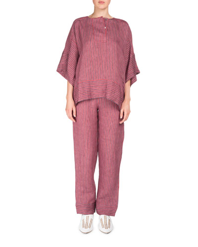 Marceline Drawstring Striped Straight-Leg PJ Pants and Matching Items