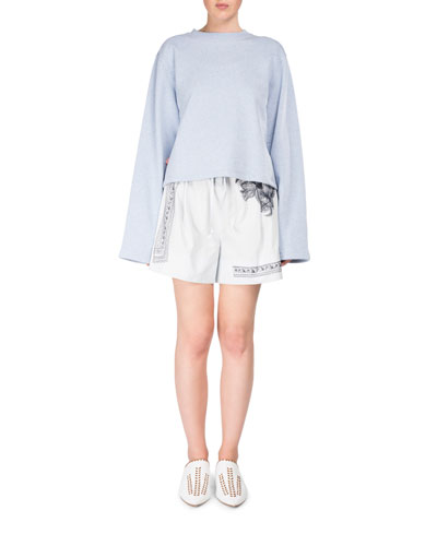 Maurice High-Waist Cotton Shorts w/Floral-Embroidery and Matching Items