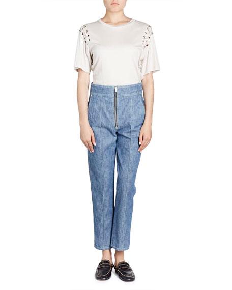 Yaden Crewneck Laced-Shoulder Cotton T-Shirt