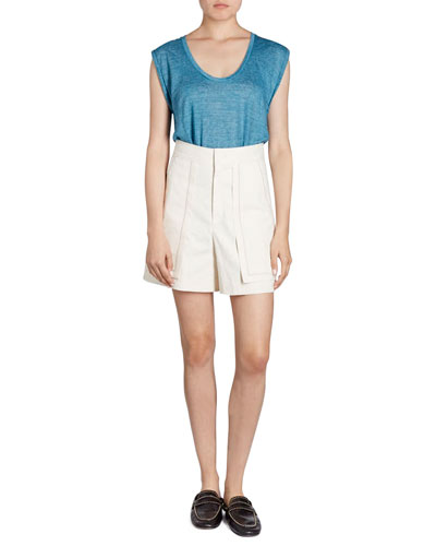 Lucky High-Waist Patch-Pocket Shorts and Matching Items