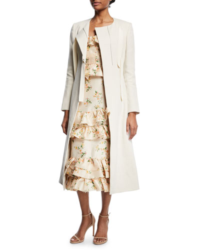 Round-Neck Corseted Textured Long Coat with Grosgrain Ties and Matching Items