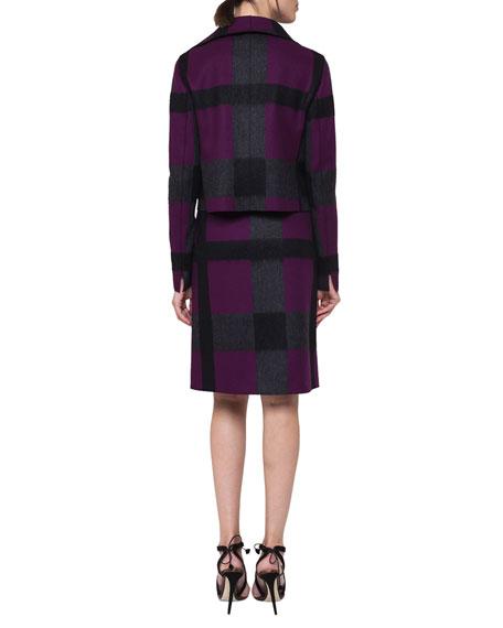 Felted Optic Plaid A-Line Skirt