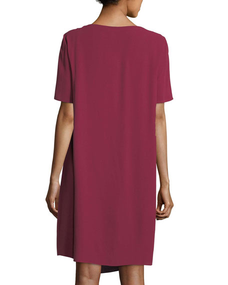Silk Georgette Crepe Asymmetric Dress