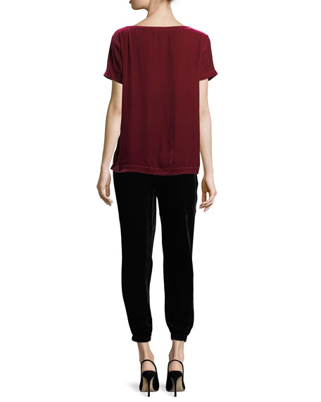 Short-Sleeve Bateau-Neck Velvet Top