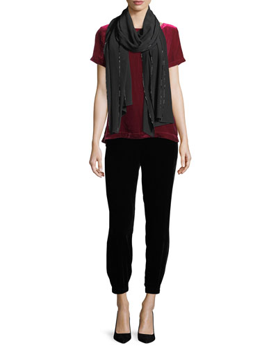 Short-Sleeve Bateau-Neck Velvet Top and Matching Items
