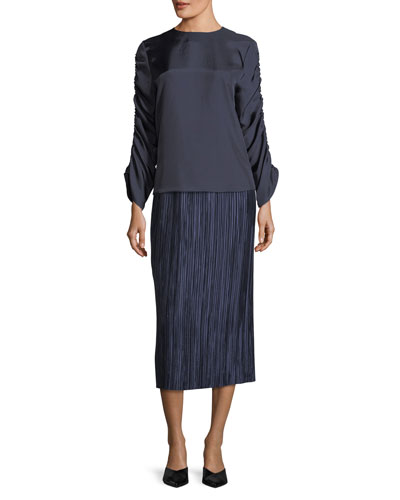 Plisse Pleated Midi Skirt and Matching Items