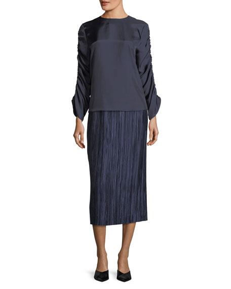 Mendini Shirred-Sleeves Satin Twill Top