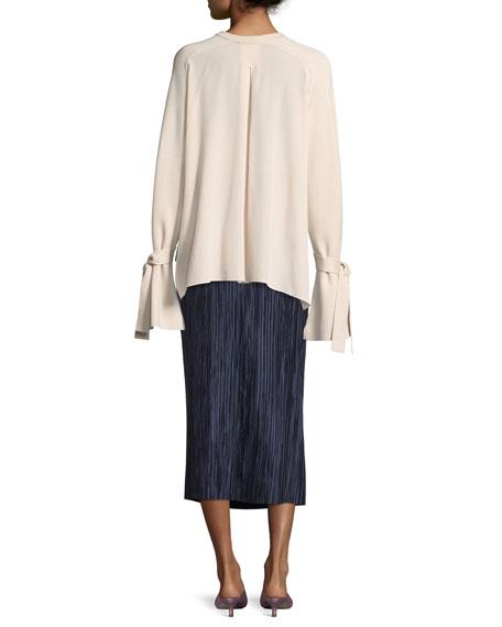 Plisse Pleated Midi Skirt