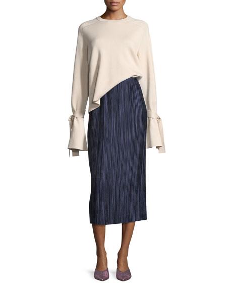 Silk-Back Crewneck Bell-Sleeve Wool Top