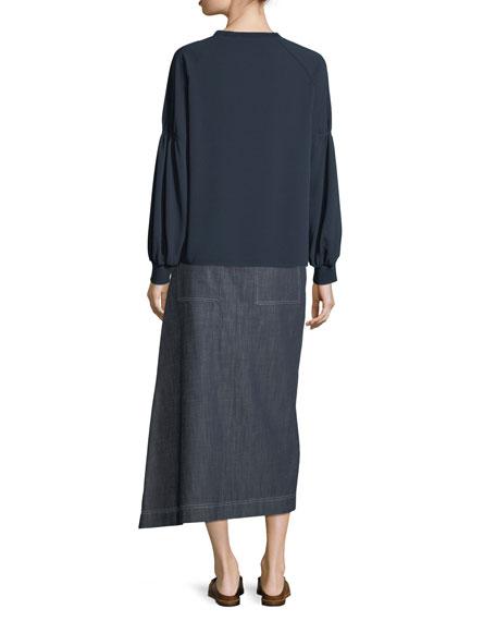 Sav Crewneck Long-Sleeve Easy Crepe Shirt