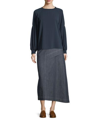 Sav Crewneck Long-Sleeve Easy Crepe Shirt and Matching Items