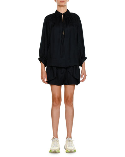 Striped-Shirting Ruffled Apron-Front Silk Shorts and Matching Items