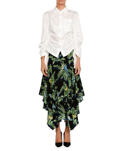 Birds of Paradise Printed Crepe de Chine Skirt w/ Handkerchief Hem and Matching Items