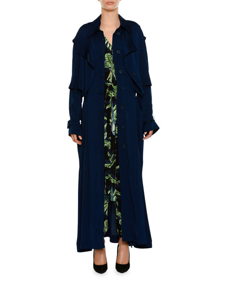 Long Button-Front Trench Dress