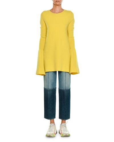 Straight-Leg Cropped Two-Tone Denim Jeans and Matching Items
