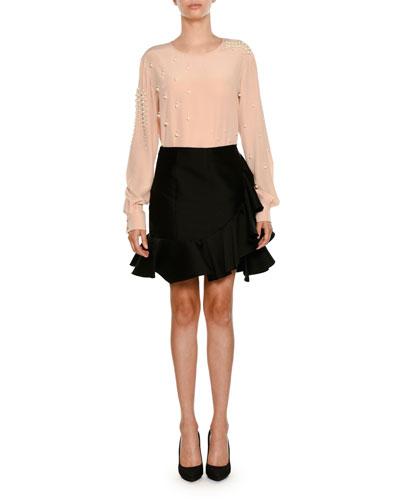 Side-Ruffle Peplum-Hem Mini Skirt and Matching Items