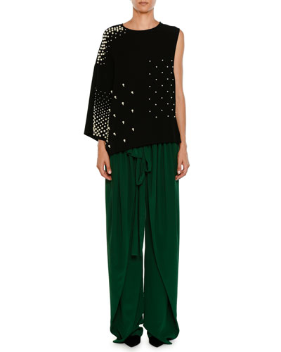 Apron-Front Wide-Leg Silk Crepe De Chine Pants and Matching Items