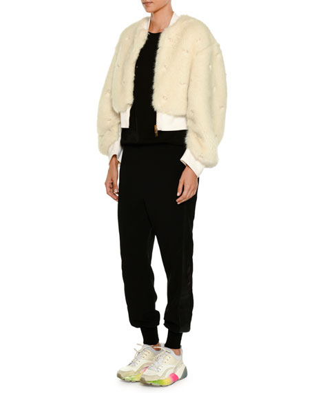Zip-Front Faux-Fur Bomber Jacket w/ Allover Pearlescent Trim