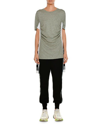 Pull-On Jogger-Style Pants with Leather Side Stripe and Matching Items