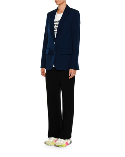 Two-Button Notched-Collar Tailored Wool Jacket and Matching Items