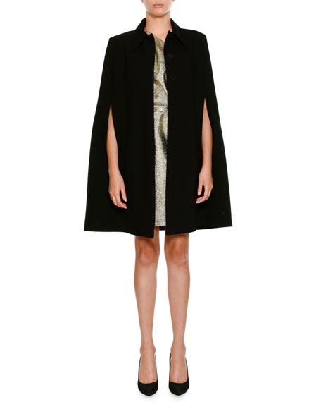 Wool Coat Cape with Volcano Embroidered Back
