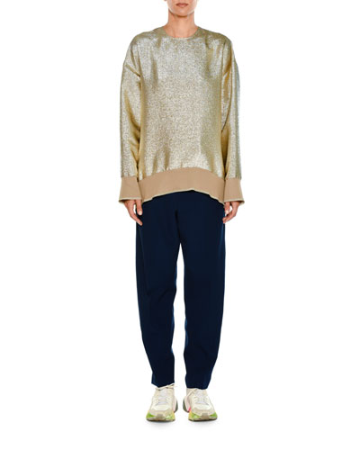 Crewneck Long-Sleeve Lamé Sweatshirt and Matching Items