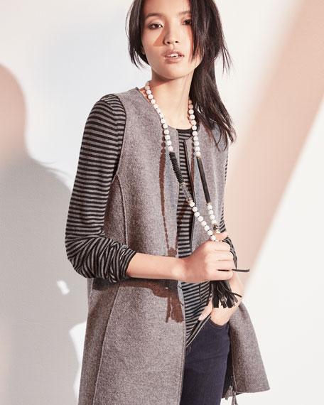 Round-Neck Zip-Front Boiled Wool Vest