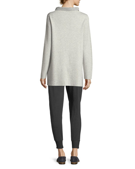 Funnel-Neck Ribbed Organic Cotton & Cashmere Tunic