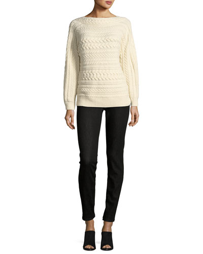 Cable-Knit Dolman-Sleeve Cashmere Sweater and Matching Items