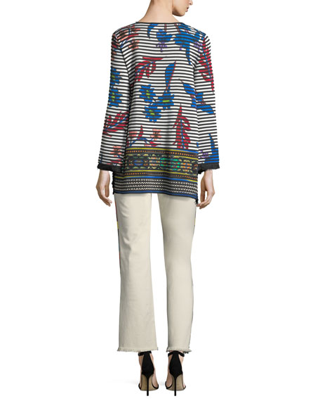Striped Orchid Knit Pullover Sweater