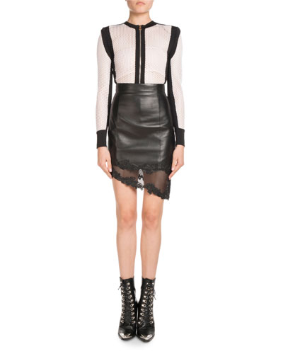 High-Waist Asymmetric Stretch-Leather Skirt w/ Lace Hem and Matching Items