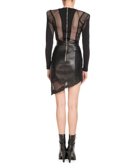 High-Waist Asymmetric Stretch-Leather Skirt w/ Lace Hem