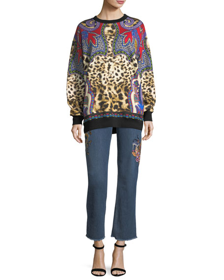 High-Rise Straight-Leg Jeans w/ Embroidery & Studded Trim