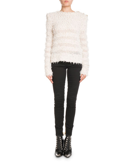 Long-Sleeve Textured-Knit Sweater with Golden Buttons