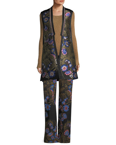 Floral-Embroidered Open-Front Silk Faille Long Vest and Matching Items
