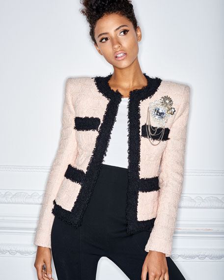 Four-Pocket Long-Sleeve Bicolor Tweed Jacket with Brooch Embellishment
