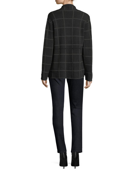 Fine Windowpane Crepe Open Cardigan, Plus Size