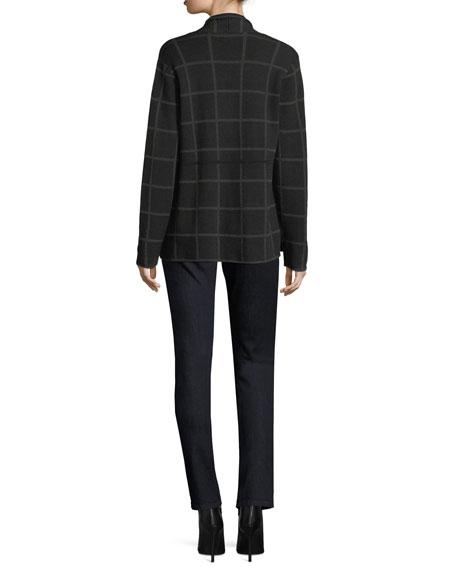 Fine Windowpane Crepe Open Cardigan, Plus Size