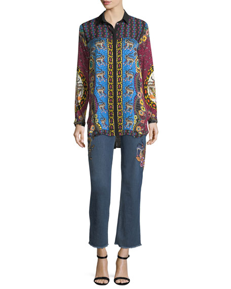 Animal Jacquard Button-Front Silk Blouse