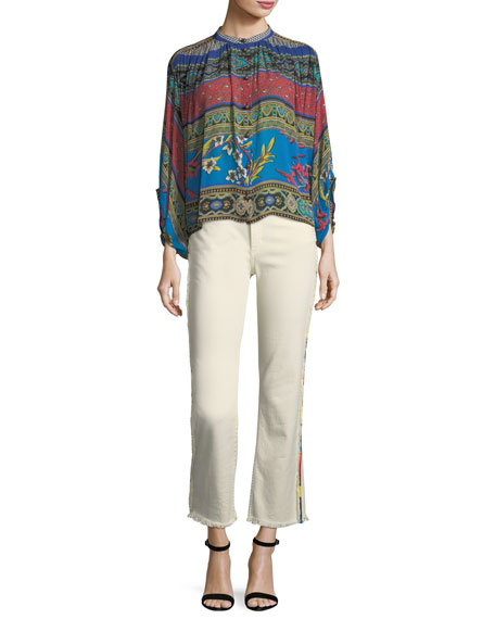 High-Rise Straight-Leg Raw-Hem Denim Jeans w/ Multicolor Trim