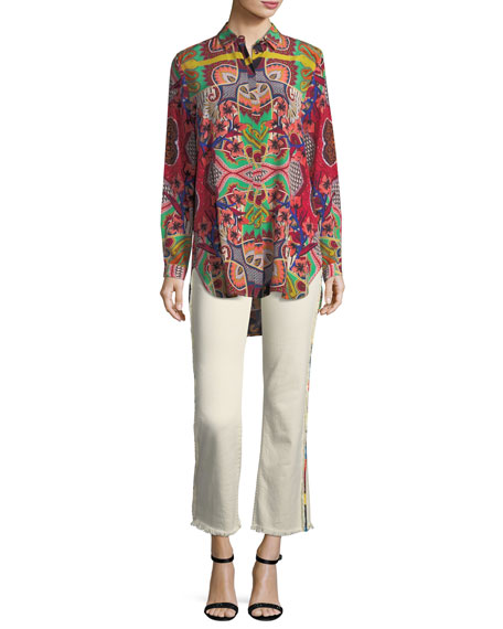 Tropical-Paisley Print Button-Front Silk Tunic Shirt