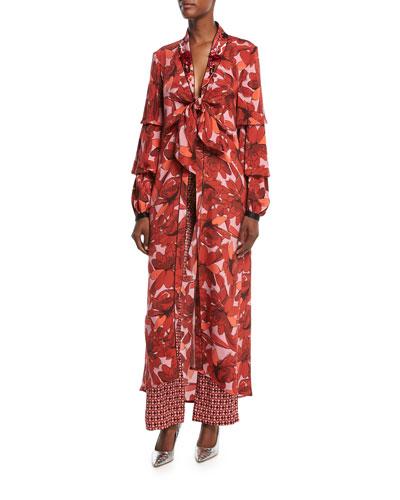 Acapulco Desert Tile-Print Straight-Leg Silk Satin Pants and Matching Items