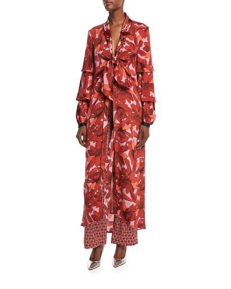 Poppy Floral-Print Tie-Front Embellished Kimono Jacket