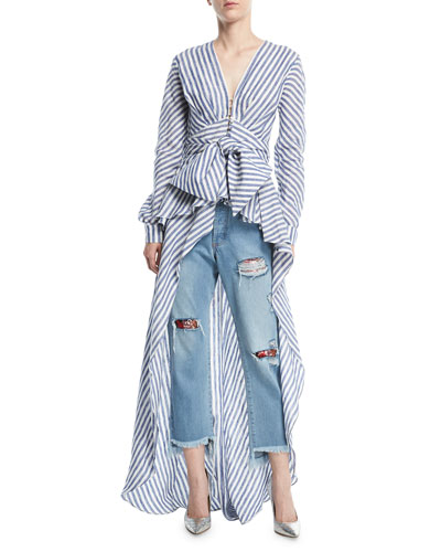 Rio Grande Striped Floor-Length Linen Blouse and Matching Items