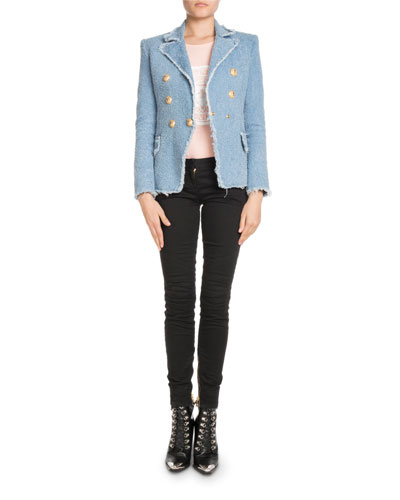 Skinny-Leg Stretch-Denim Jeans with Golden Trim and Matching Items