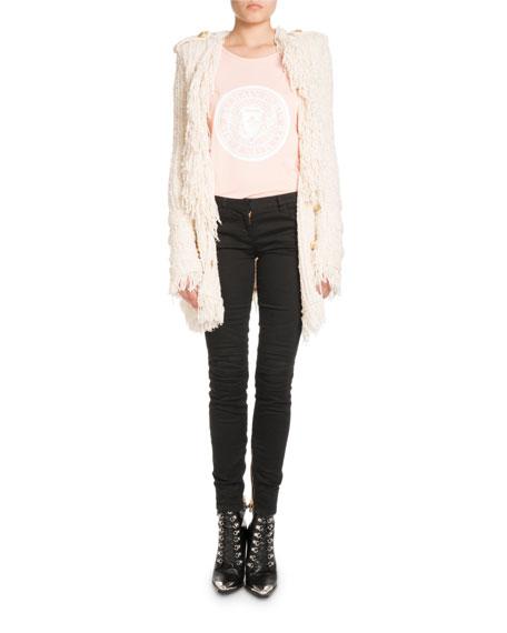 Skinny-Leg Stretch-Denim Jeans with Golden Trim
