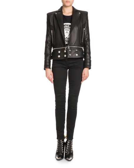 Leather Open-Front Moto Jacket with Coin Embossed Logo