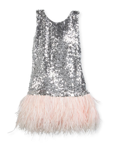 Cece Sequin Dress w/ Feather Hem, Size 4-6X and Matching Items