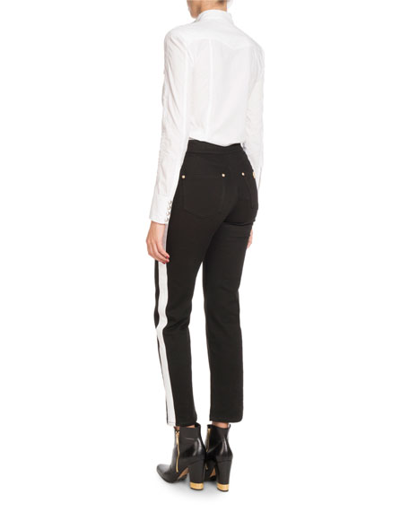 High-Waist Side-Stripe Straight-Leg Denim Pants