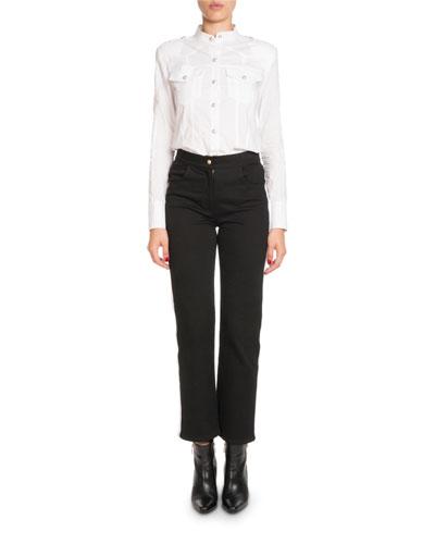 High-Waist Side-Stripe Straight-Leg Denim Pants and Matching Items